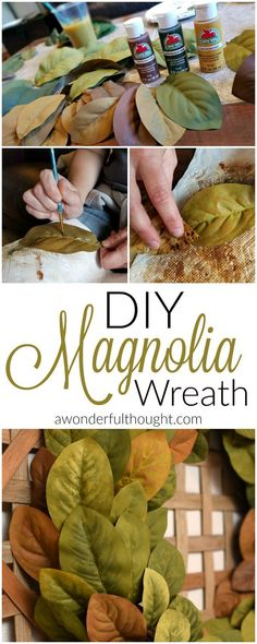 Make your own DIY magnolia wreath just like on Fixer Upper! Perfect for your farmhouse decor   awonderfulthought.com