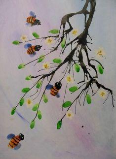 Детские поделки - Кляксография с трубочкой Ветки