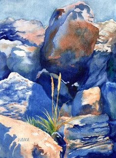 """Original watercolor painting titled """"Grow Anywhere"""" of rocks from Haleakala mountain in Maui with a single blade of grass growing in the harsh environment. Watercolor And Ink, Watercolor Paintings, Hawaiian Art, Landscape Paintings, Landscapes, Hand Art, Watercolour Tutorials, Giclee Print, Original Artwork"""