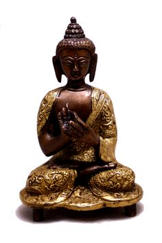 "(sku no:buddha brass statue_222) Indian Religious Lord Buddha Two Tone Handmade Brass Idol Sculpture Statue 6""x3.8"""