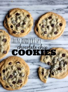 Thin and Crispy Chocolate Chip Cookies- Baker Bettie these look YUM, my husband loves thin and crispy. Best Chocolate Chip Cookie, Homemade Chocolate, Chocolate Cookies, Chocolate Chips, Thin And Crispy Chocolate Chip Cookies Recipe, Mint Chocolate, Healthy Chocolate, Cookie Recipes, Dessert Recipes
