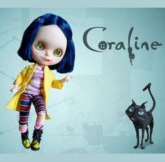CORALINE  OOAK custom Blythe doll    cat by BlytheFairyTales