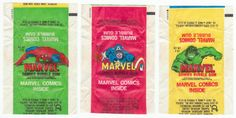 1979 Topps Marvel Comics Bubble Gum Wrappers: Lot of 3 different bubble gum wrappers, all have regular fold lines, but no tears and have been stored opened for the last 35 years, includes Captain America, Amazing Spider-Man and The Incredible Hulk, artwork by John Romita. All 3 for $12