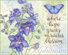 "©Jane Shasky ""Delphinium"" June 2014 wallpaper: Botanical Inspiration"