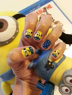 Despicable me Minion nail art. right hand design