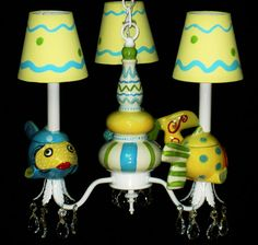 Chidren's Ceiling Fixture - Fish Chandelier - Under The Sea Decor- Ocean Theme Nursery