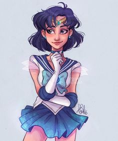 I've wanted to color something in blue so why not Sailor Mercury⚓️✨