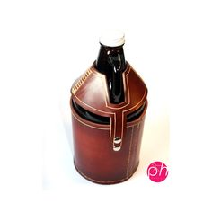 Beer Growler Leather Carrier  Mahogany by PedalHappyDesign on Etsy, $65.00