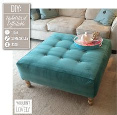 DYI coffee table turned ottoman. Supplies, time,creativity & voilà a piece to be proud of!