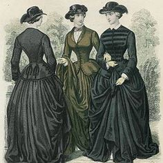 Early Victorian fashion, riding habits, 1855