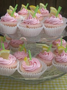Pink Lemonade Themed Baby Shower (includes step-by-step instructions for these cupcakes, the lemon meringue tarts and both party favours)