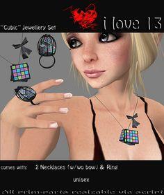 "https://flic.kr/p/6hXMmE | i love 13: ""Cubic"" Jewellery Set | slurl.com/secondlife/Vitersonus/160/223/93  (i love 13)   slurl.com/secondlife/Earp/151/239/525   (The Psychobills Bunker)"