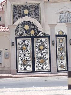 #saudiarabia #riyadh #doors #gates #design #cnc #lifestyle #modern #cadd #beautiful #metaldoor #lasercut #ابواب Steel Gate Design, Main Gate Design, Fence Design, Metal Gates, Wrought Iron Gates, Pergola Images, Metal Stair Railing, Grill Door Design, Neoclassical Architecture