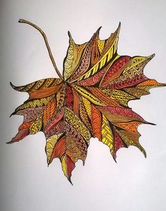 Zentangle Drawings, Mandala Drawing, Zentangle Patterns, Zentangles, Maple Leaf Drawing, Zantangle Art, Leaf Crafts, Feather Art, Painted Leaves