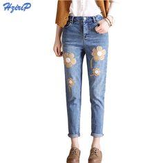 Women Floral Embroidered Jeans Femme Plus Size Vintage Ladies Blue Denim Harem Pants 2017 New Pencil Casual Fashion Jeans Mujer #Affiliate
