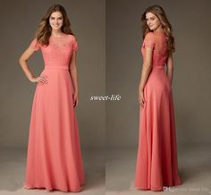 Coral Lace Bridesmaid Formal Dresses 2016 Short Sleeve Sheer Neckline Chiffon Cheap Long Dress Evening Gowns Custom Made Maid of Honor Dress Online with $77.96/Piece on Sweet-life's Store | DHgate.com