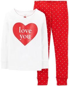Carter's 2 Piece Holiday PJ Set (Baby) - Love You