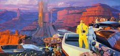 Syd Mead: U.S. Steel Interface - a portfolio of probabilities, 1969 - Race at the Megastructure