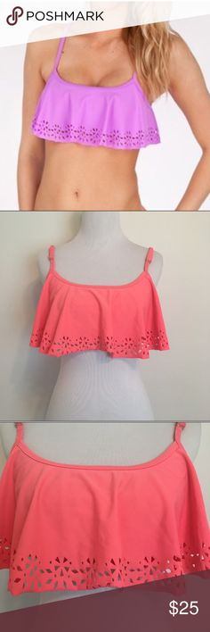 Roxy Flounce Swim Top In Coral Roxy flounce swim top in coral. Adjustable straps and built in shelf bra. Embossed on hem of swim top. In good condition! Roxy Swim