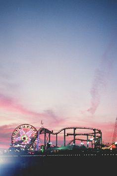 Coachella sunset. Beautiful pink and blue sky.