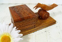Vintage Carved Wooden Cigarette Box  Retro by DivineOrders on Etsy, $48.00