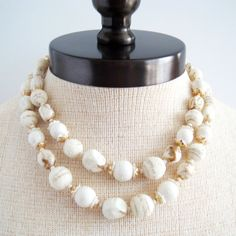 White Necklace Sugar Bead Necklace 60s White and by Flourisheshome