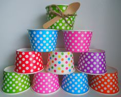12 Ice Cream Cups 8 oz Yogurt Cups Candy Dessert Polka Dot Fruit Cups Snack Cups Paper Cups Treat Cups Popcorn Cups Kids Birthday Favor Cups $3.39