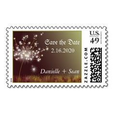 Twilight Dandelion Garden Wedding Save the Date Stamp