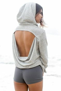 Fitness Outfits back less Uper hoddie with mini short