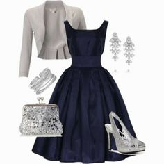 Party dress with grey blazer, blue dress and silver sandals