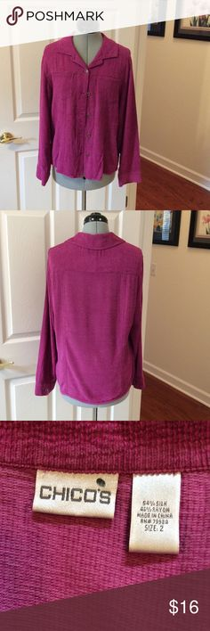 Chico's raspberry beauty Pretty, soft and comfy. Chico's size 2 which is size 12. Perfect for chilly days with jeans. Chico's Tops Button Down Shirts