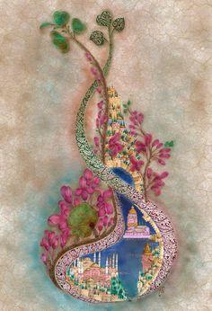 ahguzelistanbul:  Dilek Yerlikaya Arabesque, Illustrations, Illustration Art, Quran Wallpaper, Indian Arts And Crafts, Asian Tattoos, Turkish Art, Turkish Design, Art Decor