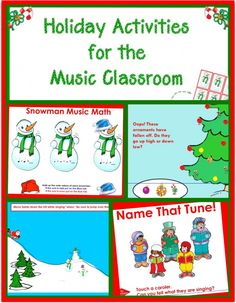 5 Holiday Activities for the Music Classroom / SMARTBoard. These are stand-alone activities including: Name that Carol, Ornament High /Low, Snowman Music +Math even odd game, Santa Ho Ho vocal fun, etc. PDF Game piece included. Use these activities for filler moments during the holidays. SMART interactive learning that's fun!