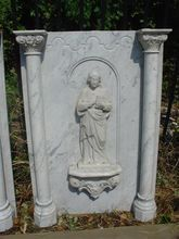 Handcrafted Carrera Marble Plaque Featuring Saint Basil