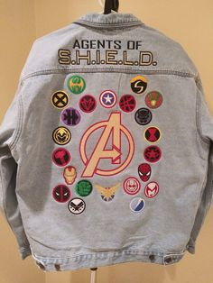 Avengers / Agents of S.H. Fans can now Custom Create a fully embroidered Denim (Jean) Jacket Choose your favorite 22 individual Superhero Icons Durable Jean Jacket Outfits, Outfit Jeans, Moda Marvel, Marvel Avengers, Sneaker Collection, Mode Outfits, Fashion Outfits, Punk Fashion, Lolita Fashion