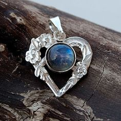 Hearts-shaped pendant with labradorite,A320, silver jewelry,silver necklace,terrarium necklace,Pendant in Sterling Silver ,Necklace Jewelry by Artseko on Etsy