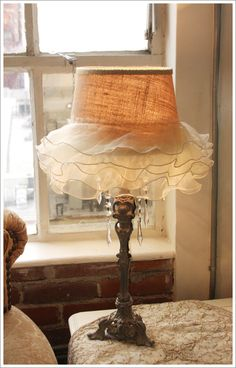 think of the possibilities with DIY Shabby Chic Ruffled Lamp.think of the possibilities with Luminaria Diy, Shabby Chic Lamp Shades, Lampshades, Lampshade Ideas, Burlap Lampshade, My New Room, Shabby Chic Furniture, Decoration, Lamp Light