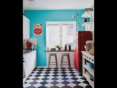 deep, saturated robin's egg blue + cherry red + checkerboard pattern; feels very retro.   Ljunghusen - Villas