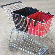 Skip the million plastic bags. Fits into shopping cart lift right out into the trunk...about time..