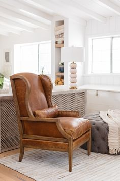 Nailhead-Trimmed Leather 28 Club Chair in Antique Hickory Living Room Seating, My Living Room, Living Room Chairs, Living Room Decor, Dining Chairs, Lounge Chairs, Leather Furniture, Ikea Furniture, Antique Furniture