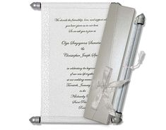 White Silver theme Anniversary Scroll Invitations Scroll Wedding Invitations, Scroll Invitation, Menu Cards, Table Cards, Tissue Types, Ribbon Box, Money Envelopes, Sweet Box, Our Wedding