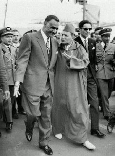 King Mohamed V from Morocco with egyptian President Gamal abdennasser - Assouan 1960