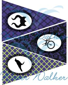 Instant Download for maleficent inspired pennants by WaterWalkerEvents on Etsy