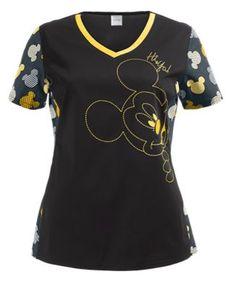 Cherokee Tooniforms Scrubs Hi-Ya Print Top Style # CK604MKH  #uniformadvantage #uascrubs #adayinscrubs #scrubs #printscrubs #MickeyMouse #cherokee #cherokeescrubs