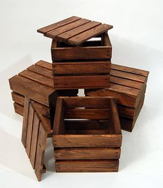 Four Wood Gift Crates / Gift Boxes with Lids  by PotterybyDan, $42.00