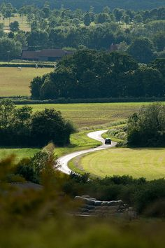Rural road in the rolling Oxfordshire countryside