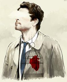 Put your heart in a cage where it belongs. #castiel #supernatural #fanart  artist: http://natalaze.tumblr.com/post/79104948381/put-your-heart-in-a-cage-where-it-should-be-ref