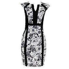 Black/White Floral Patterned Ladies Dress