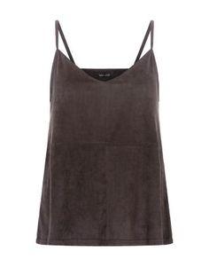 A nod to 70s chic - the Black Suedette Stitch Trim Strappy Cami Top. #newlook #fashion