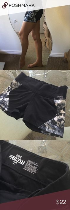 ✨Pink Black & Gray Marble Ultimate Yoga Shorts✨ Sexy, cute, and ultra comfortable Pink ultimate yoga shorts! Black with gray marble pattern detail, low waisted. In excellent condition! ❤️ PINK Shorts